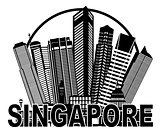 Singapore City Skyline Circle Black and White Illustration
