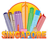 Singapore City Skyline Circle Color Illustration