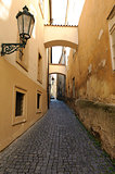 Old narrow streets in Prague, Czech Republic