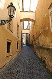 Old narrow streets in Prague, Czech Republic