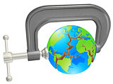 Clamp breaking world globe