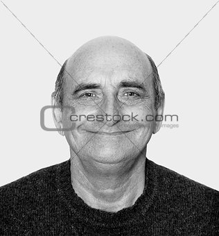 Closeup image of a happy aged man