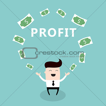 Happy businessman surrounded by money Cute cartoon character Profit successful business concept
