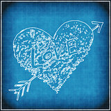 Blue grunge background with white abstract heart