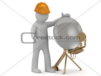 3d man adjuster in an orange helmet adjusts the satellite isolated