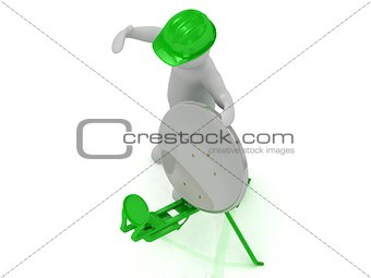 3d man in an green helmet adjusts the green satellite