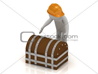 3D man in orange helmet is going to opening a wooden chest