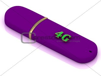 4G - inscription bright volume letter on lilac USB flash drive