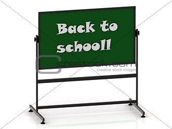 Back to schooll inscription on a green chalkboard