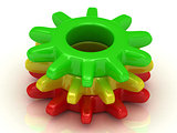 Work concept Red, yellow and green gears