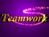 Teamwork- 3d inscription with luminous line with spark