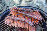 Grilled pork ribs on the rack