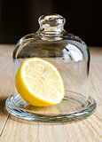 Lemon under glass dome