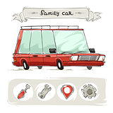 Cartoon Family Old Car Set