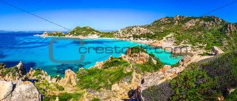 Beautiful ocean coastline beach panorama in Maddalena islands, I