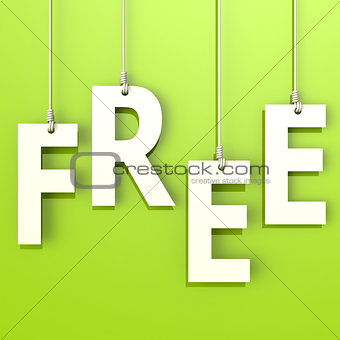 Free word in green background