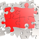 Puzzle jigsaw red