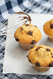 Tasty home made muffins with whisk covered in melting chocolate