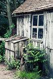 Desaturated effect landscape of old blacksmiths workshop
