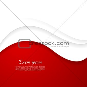 Abstract red and white wavy design