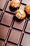 dark chocolate bar with hazelnuts