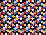 Design seamless colorful mosaic hexagon pattern
