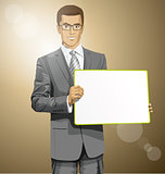 Vector Business Man with Empty Write Board