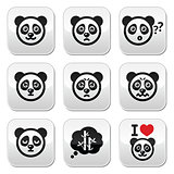 Panda bear buttons set - happy, sad, angry isolated on white