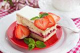 Piece of  strawberry cake