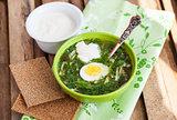 Cold sorrel soup with egg