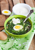 Cold sorrel soup with egg