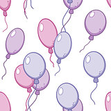 Vector seamless pattern with flying balloons