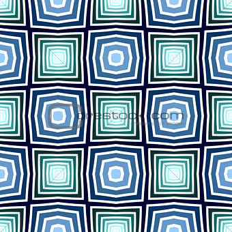 Seamless blue and green checked pattern. Geometric texture.