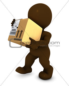 3D Morph Man with cardboard box
