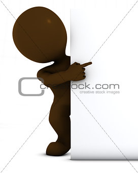 3D Morph Man with blank sign