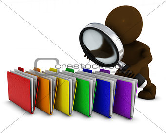3D Morph Man searching folders with magnifying glass