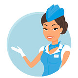 Female stewardess wearing blue suit