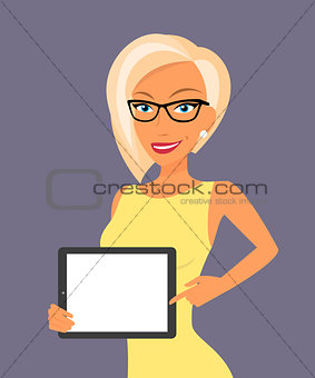 Blonde woman showing something displayed on tablet pc.