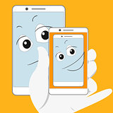 Smiling smartphone is taking self-snapshot.