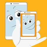 Smiling smartphone is taking self-snapshot.