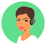 Female call centre operator with headset
