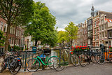 City view of Amsterdam canals and typical houses, Holland, Nethe
