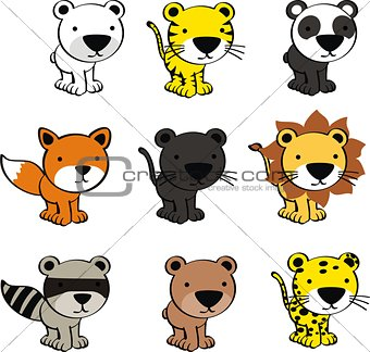 baby cute animals cartoon set