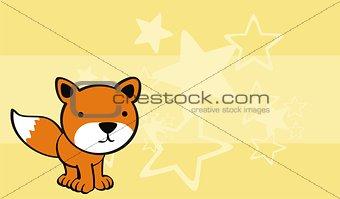 fox cute baby cartoon background