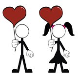 pictograms love stick man and girl vector3