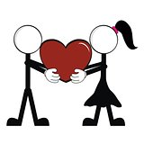 pictograms love stick man and girl vector2