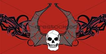 skull winged rocker style background10