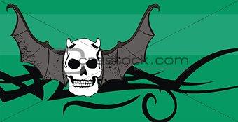 skull winged rocker style background8