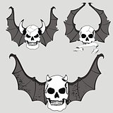 skull winged rocker style set3