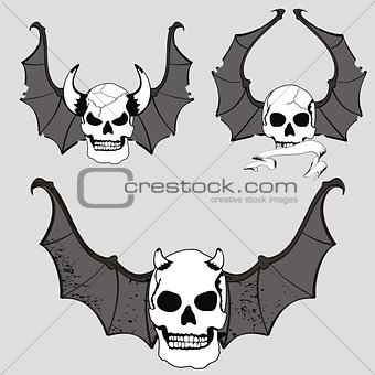 skull winged rocker style set3